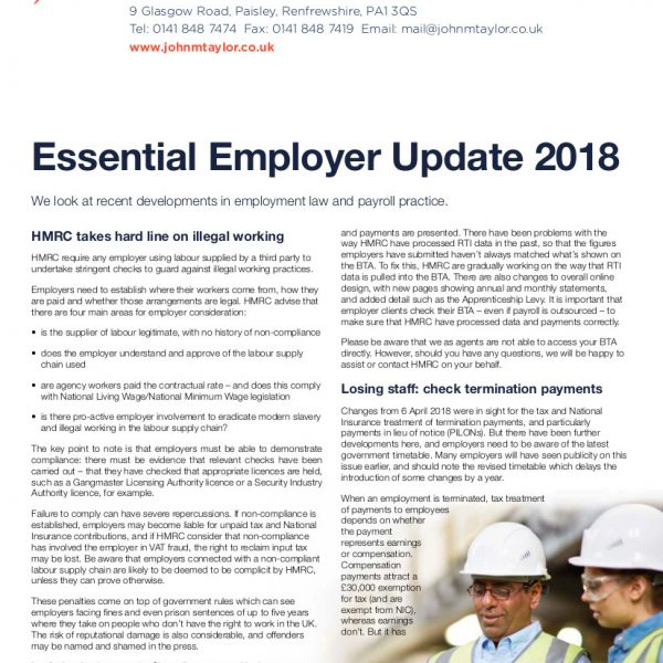 Image of first page of employer update