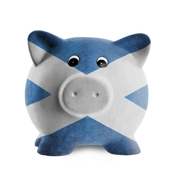 Piggy Bank painted in saltire
